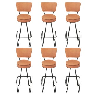 Six Wrought Iron Bar Stools After Frederick Weinberg For Sale