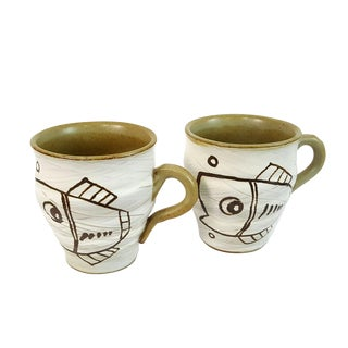 Pair Mid-Century Modern Abstract Fish Studio Pottery Mugs For Sale