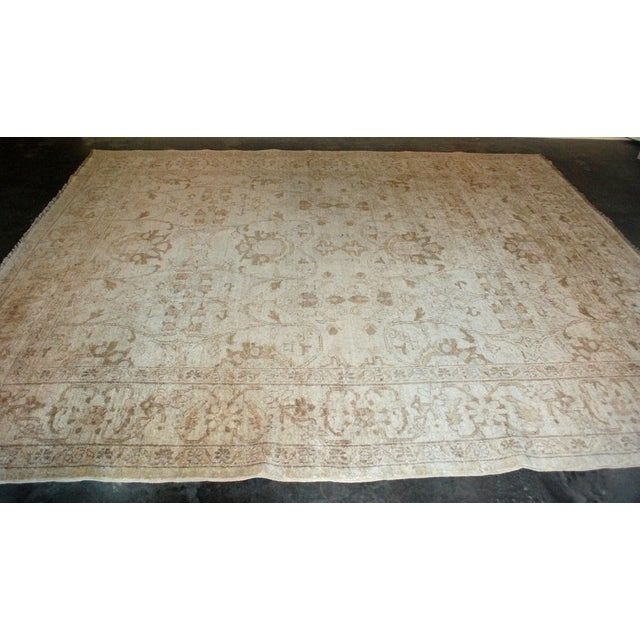 Traditional Vintage Hand-Knotted Wool Chobi Gold Rug 8x9 For Sale - Image 3 of 5