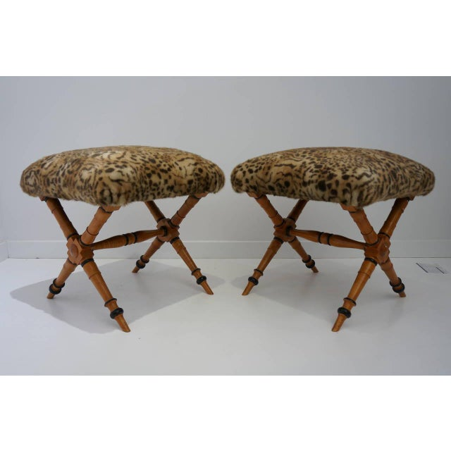 1960s Pair of Biedermeier Style X-Stools with Faux Fur Upholstery For Sale - Image 5 of 10