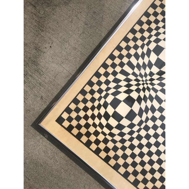 1970s Midcentury Victor Vasarely Op Art Bauhaus Custom Framed Lithograph For Sale In Los Angeles - Image 6 of 9
