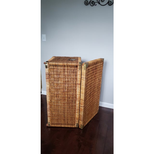 Vintage Wicker Rattan Trunk For Sale - Image 10 of 13