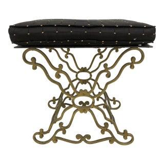 Carved Brass Tabouret For Sale