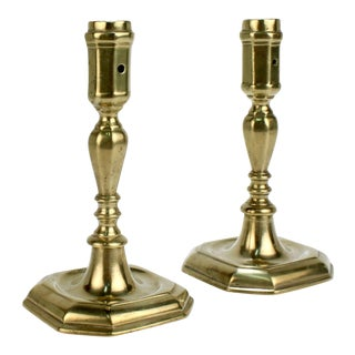 Early 18th Century French or English Faceted Brass Candlesticks - A Pair For Sale