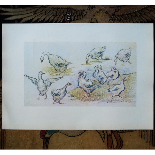 Blue 1959 Lithograph of Geese by Alfred Sisley For Sale - Image 8 of 11