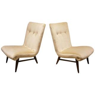 Sculptural Swedish Velvet Slipper Chairs - a Pair