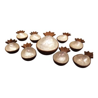 Vintage Teak Wood Bowl/Server Set - 9 Pieces For Sale