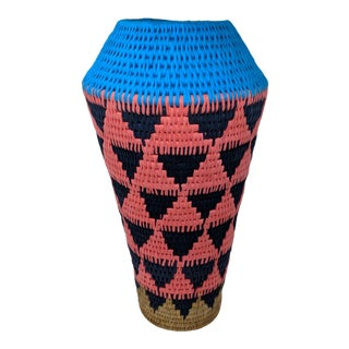Tribal Cotton and Rattan Woven Decorative Vase For Sale