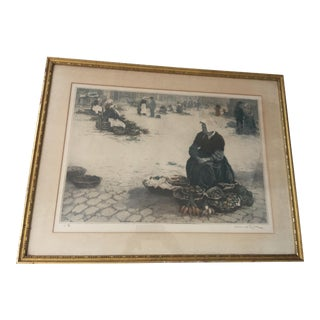 Manuel Robbe Brittany Market Place Etching For Sale