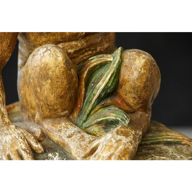 Early 20th Century Carved Wood and Painted Plaster Side Table Showing a Monkey For Sale - Image 9 of 10