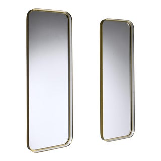 Large Pair of Rectangular Brass and White Hallway Mirrors, Germany, 1950s For Sale
