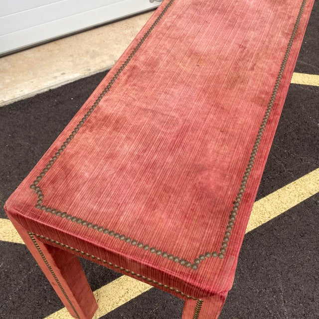1970s Distressed Velvet Nailhead Parsons Console Table For Sale - Image 4 of 13