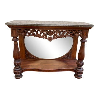 Late 19th Century Victorian Entry Table Console With Marble Top For Sale