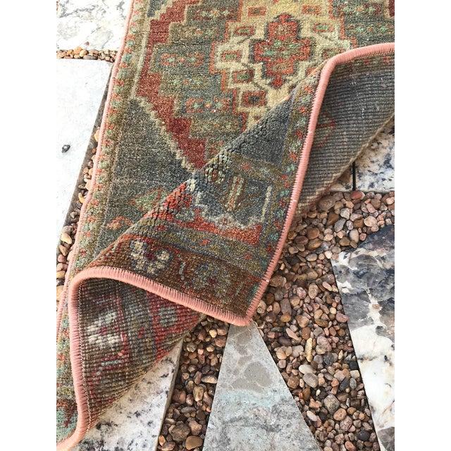 "Textile Hand Made Vintage Turkish Rug - 1'5"" X 3' For Sale - Image 7 of 9"