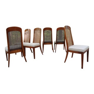 Burl Wood Dining Chairs Attributed to Milo Baughman- Set of 6
