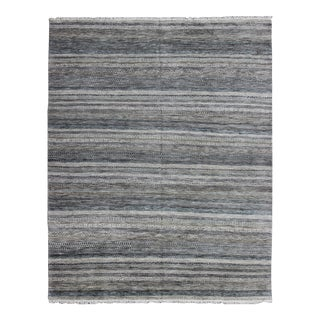 Large Modern Design Striped Rug in Shades of Blue, Gray, Creams, and Charcoal For Sale