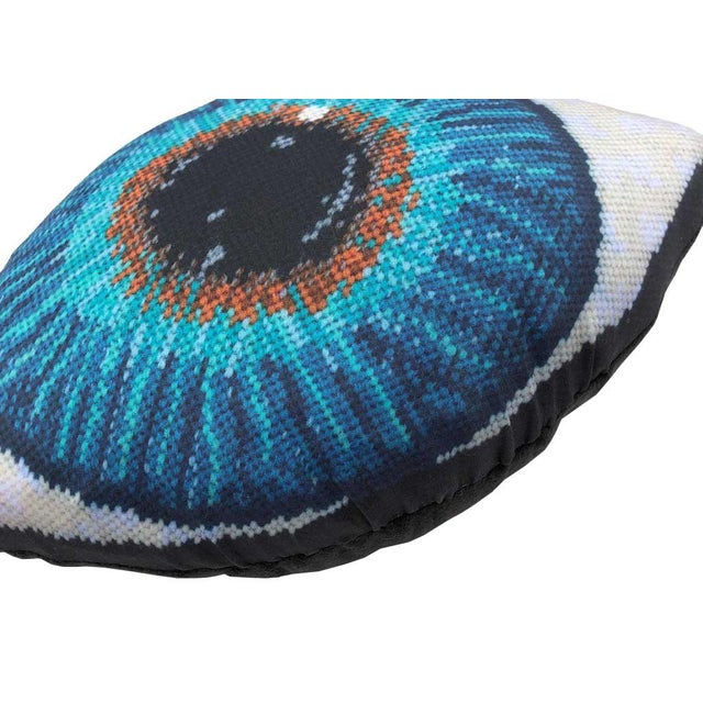 "Not Yet Made - Made To Order ""Emerson"" Blue Eye Sculpted Pillows - a Pair, Original Textile Art For Sale - Image 5 of 10"