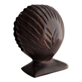Carved Wood Shell Napkin Holder For Sale