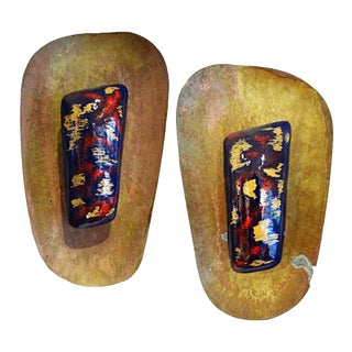 Paolo di Poli Style Pair of Mid-Century Lacquer and Brass Sconces For Sale