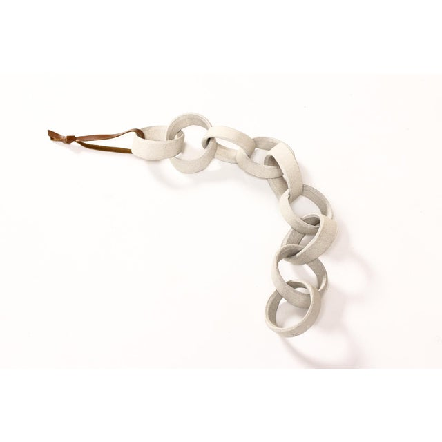 #1693 — Modernist Extruded Ceramic Wall Chain — White Stoneware — 9 Links Extruded ceramic stoneware chain - handcrafted...