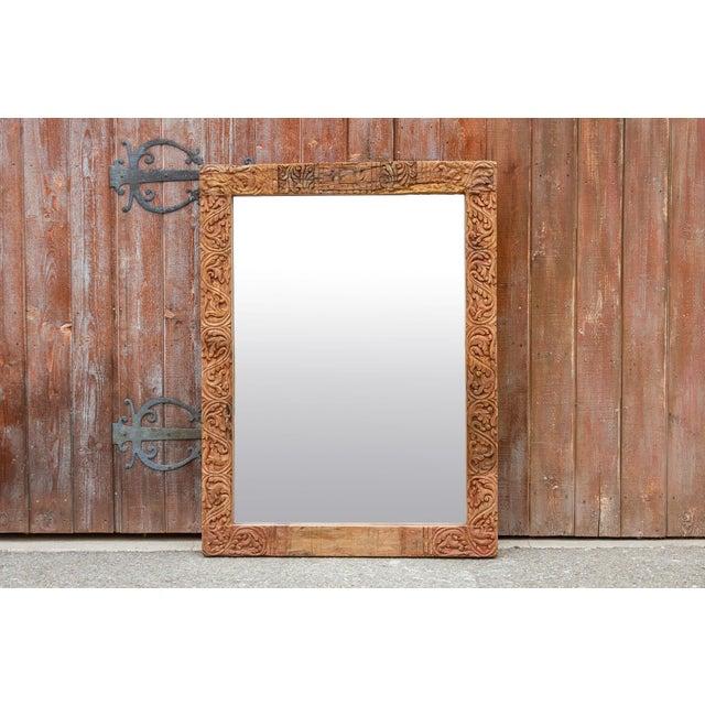 Antique Primitive Fleur De Lis Carved Mirror For Sale - Image 10 of 11