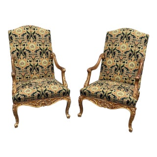 Vintage Mid Century Louis XVI Style Tapestry Armchairs- A Pair For Sale