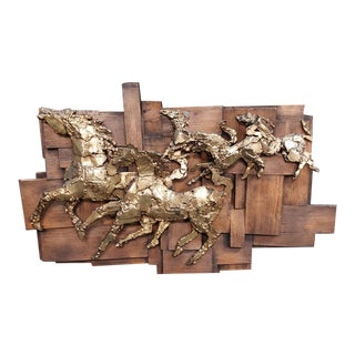 1970's Finesse Originals Galloping Horses on Patchwork Wood Fiberglass Wall Hanging Sculpture For Sale