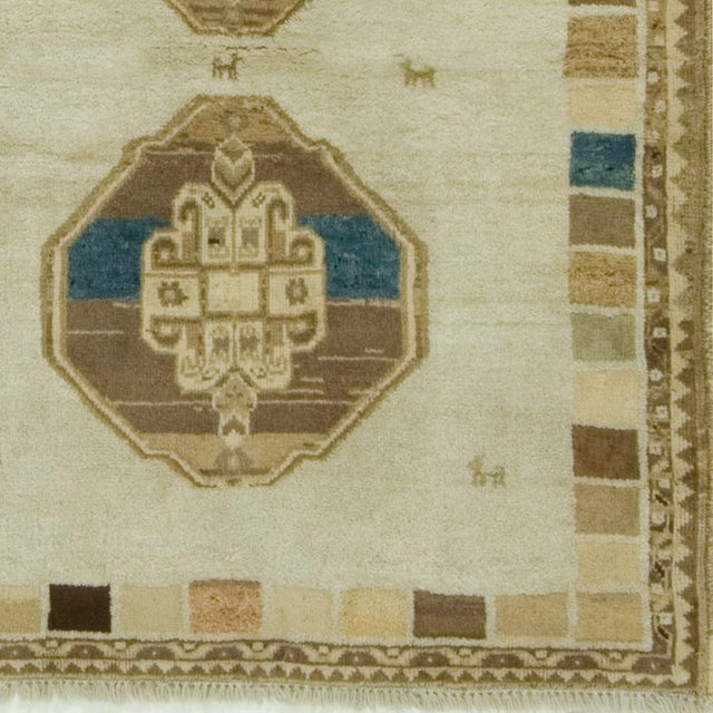 """Islamic Gabbeh Hand-Knotted Rug - 3'8"""" x 4'5"""" For Sale - Image 3 of 3"""