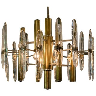 Sciolari Chandelier of Brass, Chrome and Glass, Italy For Sale