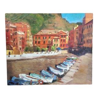 """Cinque Terre Boats"" Contemporary Italian Scene Oil Painting For Sale"