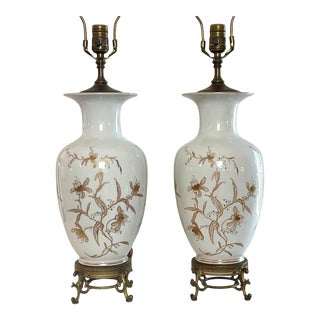 Hand-Painted Vintage White Opaline Glass Vase Table Lamps - a Pair For Sale