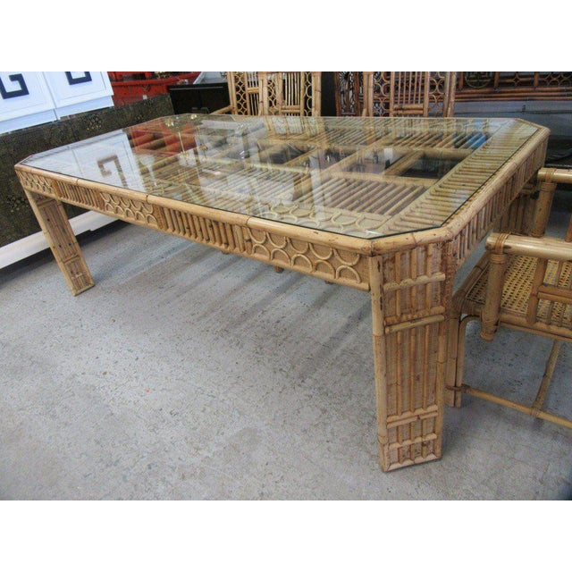 Bamboo & Seagrass Fretwork Dining Table - Image 4 of 11