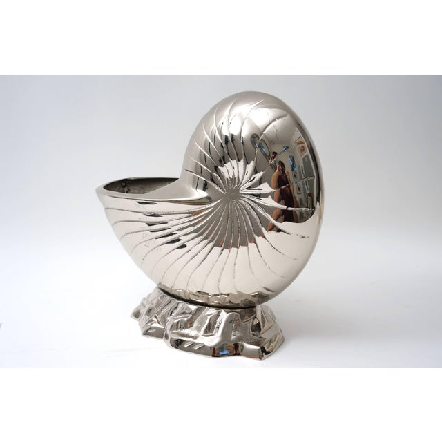 Mid 20th Century Large Nickel Plated Nautilus Cachepot For Sale - Image 5 of 10