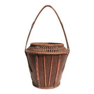 ly Woven Japanese Antique Bamboo Ikebana Flower Basket For Sale