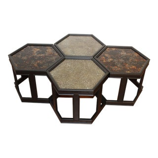 1960s Mid-Century Hexagon Tables Designed by John Keal for Brown Saltman - Set of 4 For Sale