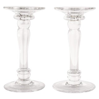 Mid-Century Modern Translucent Glass Doric Column Candlesticks For Sale