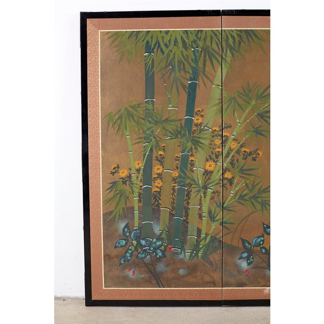 Mid-Century Modern Japanese Four Panel Screen Quail in Flower Bamboo Landscape For Sale - Image 3 of 13