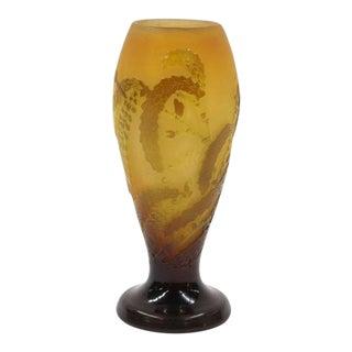 1900s Emile Galle Art Nouveau Cameo Glass Vase For Sale