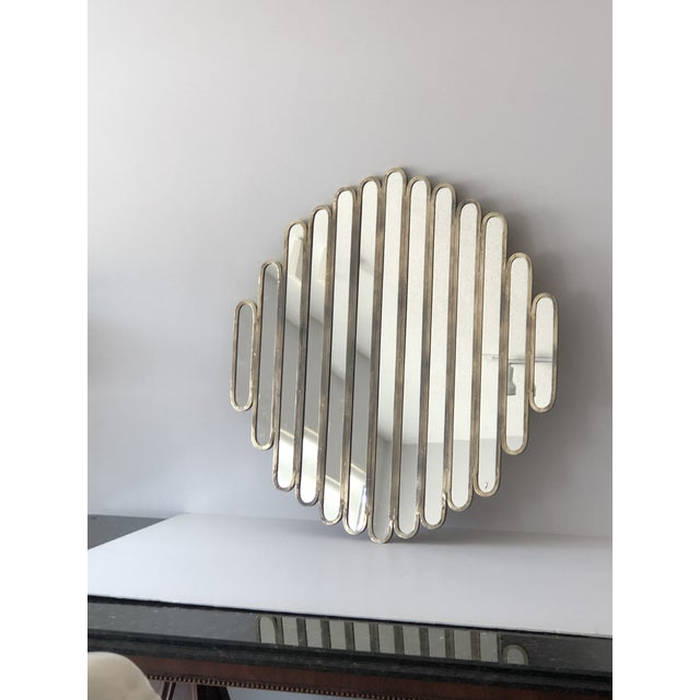 Gray Modern Unusual Unique Metal Mirrors, A-Pair For Sale - Image 8 of 9