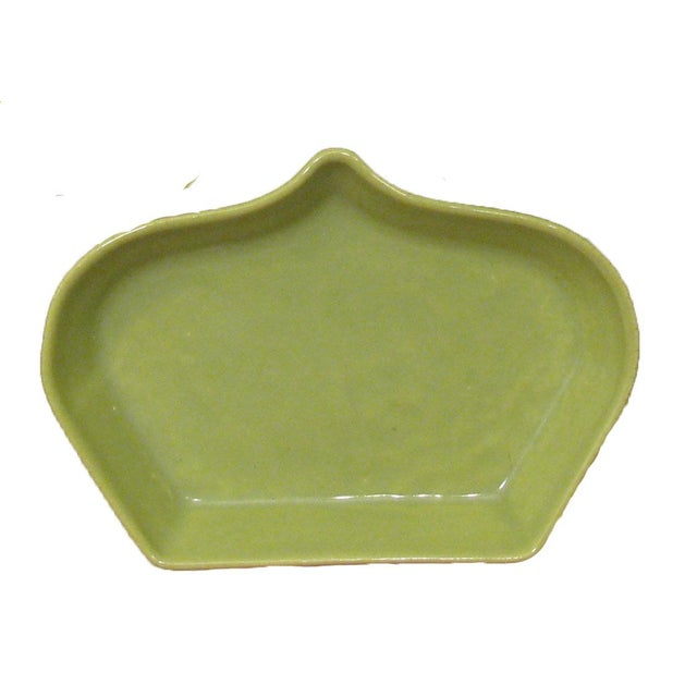 Fun set of five mid-century, chartreuse green, ogee-shaped plates for appetizers or other small food items. Perfect to...