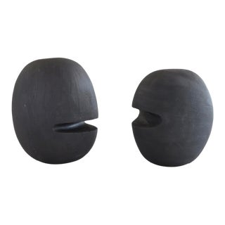 """Hand Built Ceramic Sculptural Heads """"2 Heads Are Better Than..."""" in Black by Helena Starcevic - a Pair For Sale"""