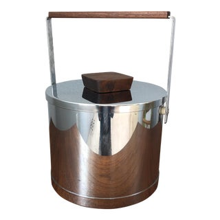 Mid-Century Chrome & Walnut Ice Bucket For Sale