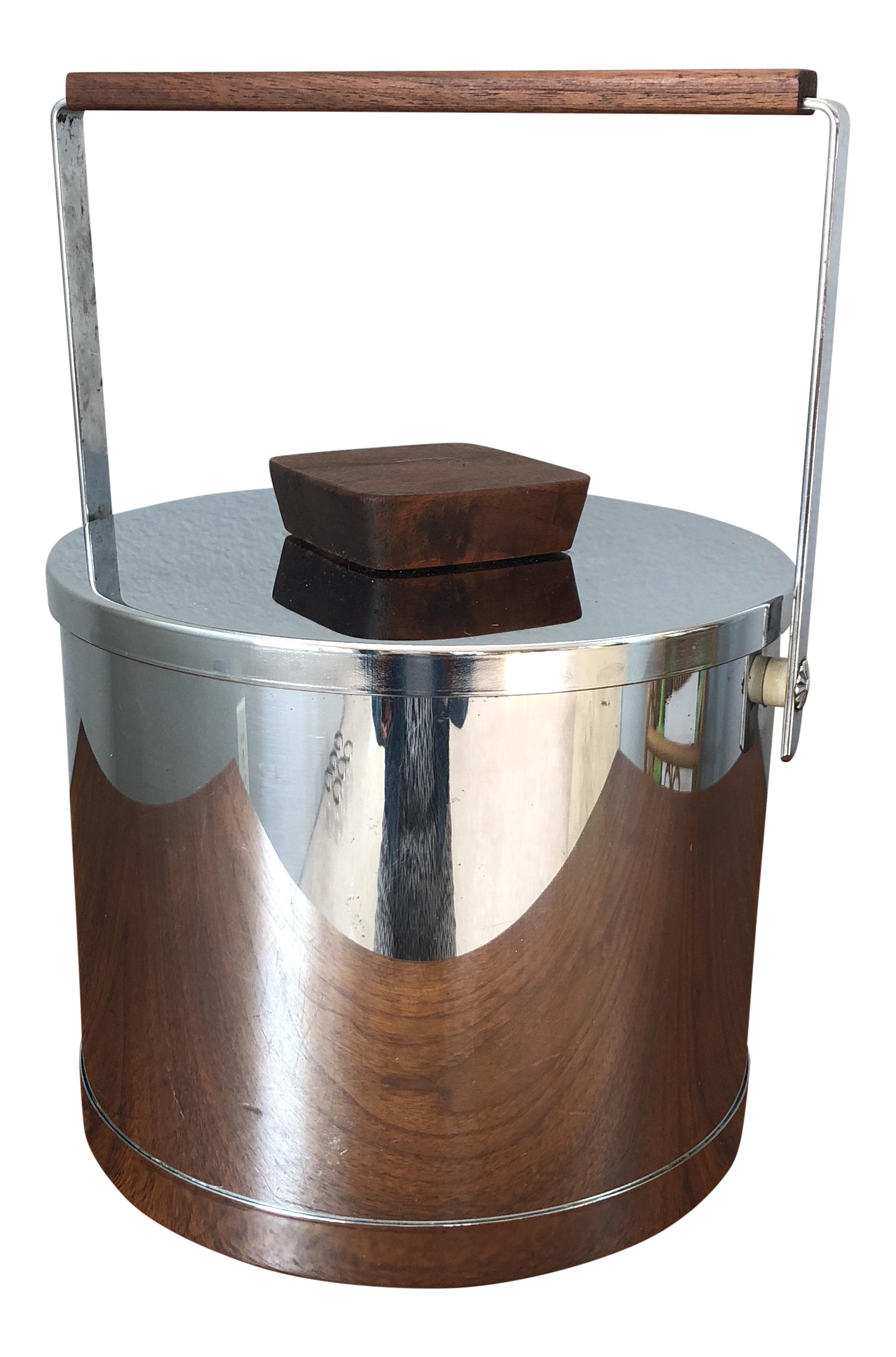 Mid Century Chrome U0026 Walnut Ice Bucket