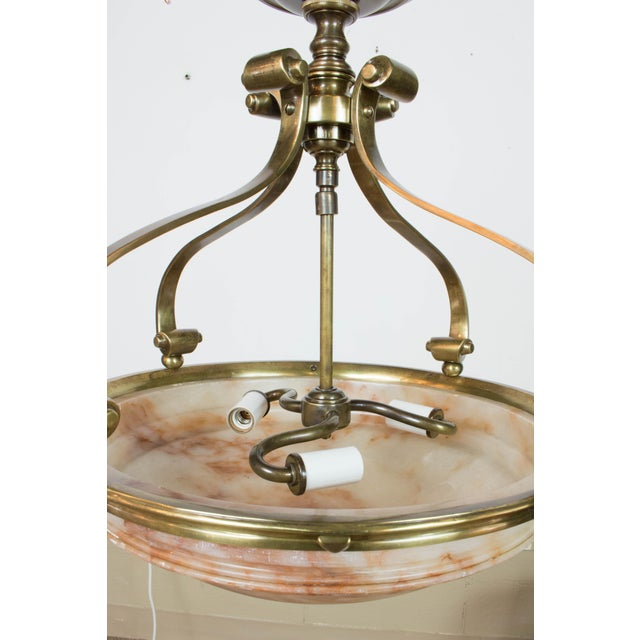 Gold Alabaster Semi Flush 18″ Bowl For Sale - Image 8 of 9