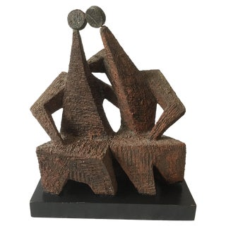 1950s Brutalist Sculpture of Two Men by Margot Kempe For Sale