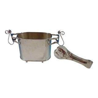 Emilia Castillo Mexico Silverplate Ice Bucket Set 2pc With Monkey Motif (#2695) For Sale