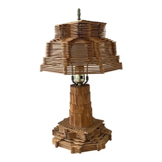 1960s Popsicle Stick Folk Art Lamp For Sale