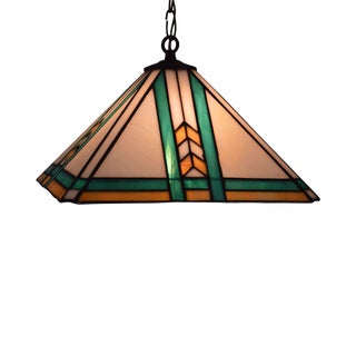 Arts & Crafts Style Quality Hanging Stained Glass Pendant Light For Sale