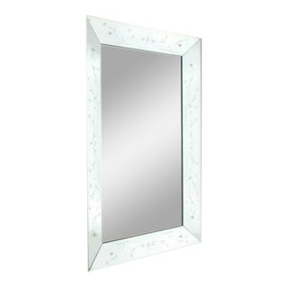 French Mirror Frame Mirror With Etching, C. 1930 For Sale