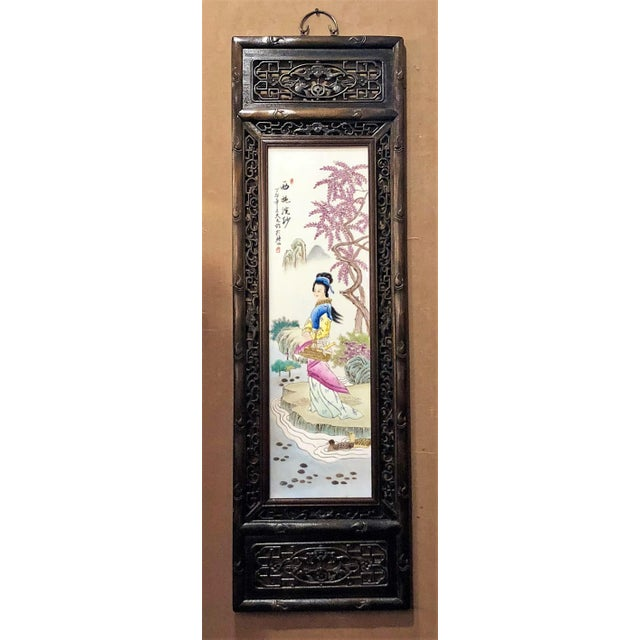 Late 19th Century Pair Antique 19th Century Chinese Famille Rose Panels. For Sale - Image 5 of 5